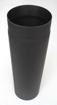 DN200, 500mm hosszú acél, vastagfalú fekete füstcső