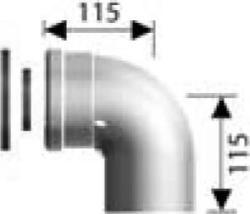 Ariston 90°-os könyökidom, alu/pp, Ø80/125 mm