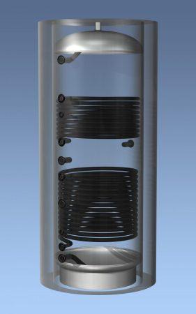 HAJDU Aquastic 500C puffertartály 2 hőcserélő, szigeteléssel